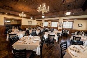 Inside the restaurant at Fireside Chophouse in WIilliamsburg VA
