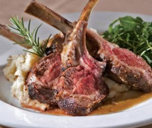 rack of lamb at Fireside Chophouse in Williamsburg, VA